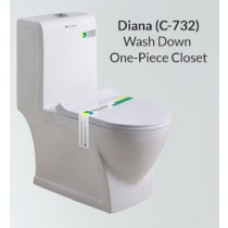 One Piece Wash Down Water Closet - C-732
